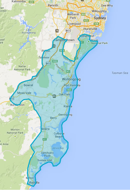 We cover Wollongong, Nowra, Kiama, Ulladulla to the Southern Highlands and out to Campbelltown. Ask for a quote today.